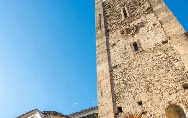 Clock tower of Chiesa Parrocchiale dei Santi Pietro e Paolo at center square of Ascona, Locarno, Switzerland