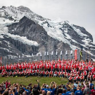 Swissman 2018 Finishers group picture at Kleine Scheidegg